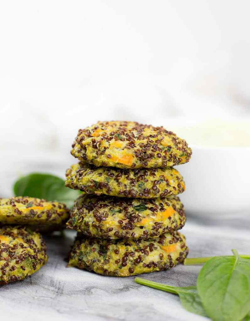 Stack of Quinoa Veggie Patties by Love Food Nourish
