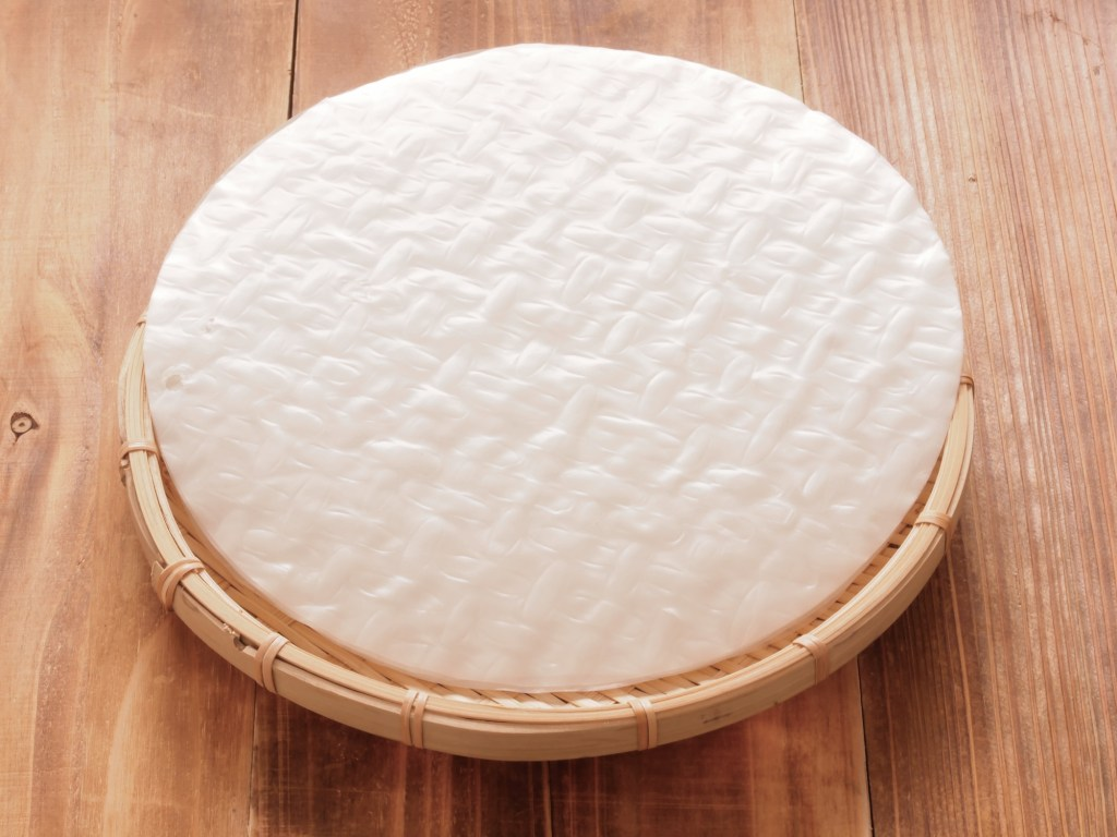 Picture of a stack of rice paper on a countertop