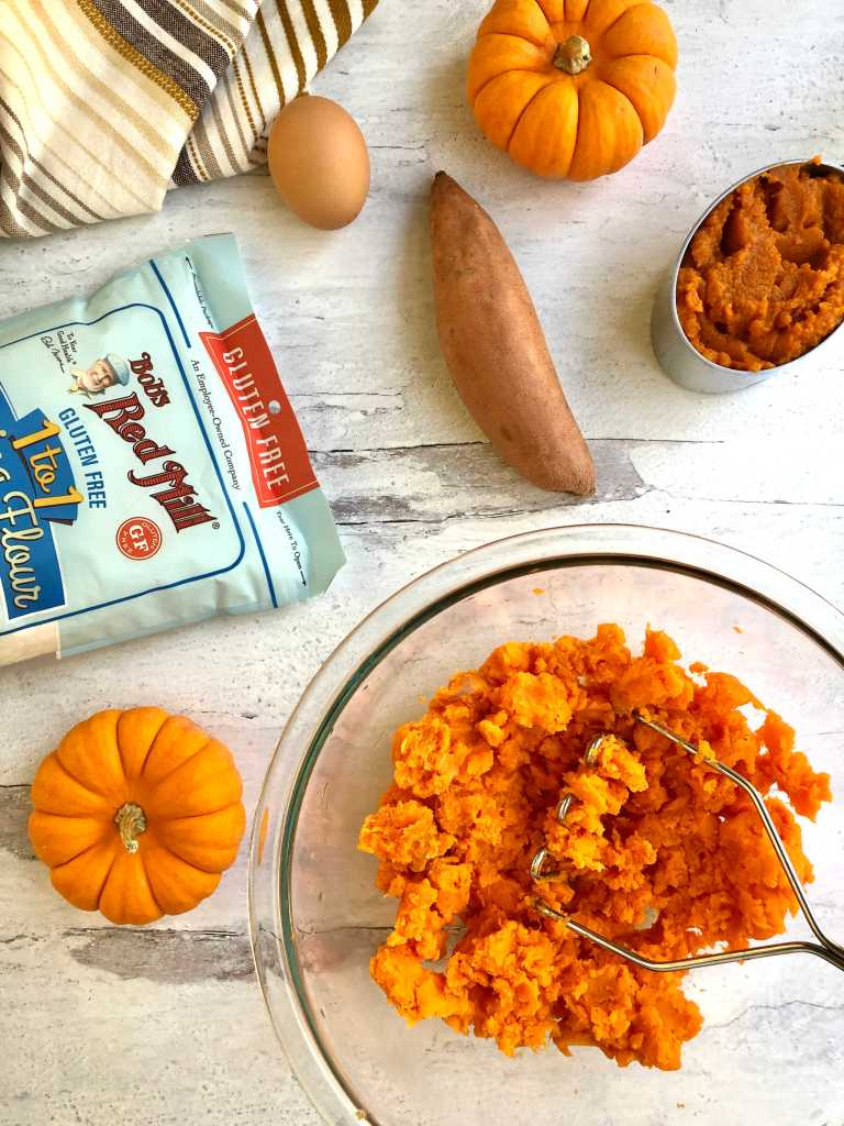 Picture of mashed sweet potatoes, Bob's Red Mill 1:1 gluten-free flour, an egg and pumpkin.