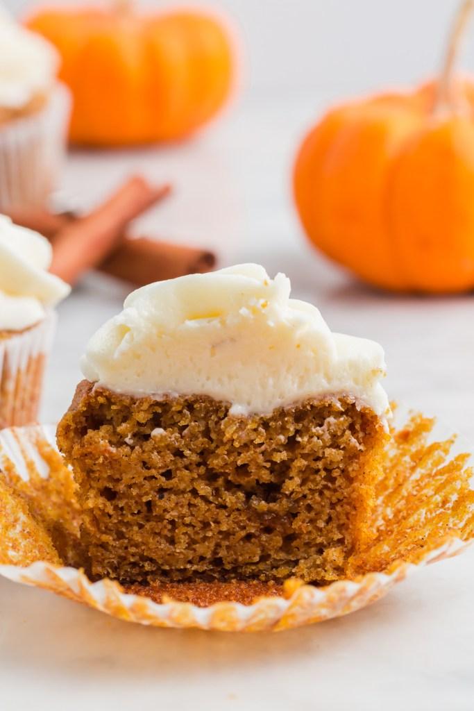 Half of an almond flour pumpkin muffin