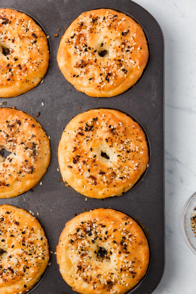 Grain-free almond flour bagels baked in a donut pan.