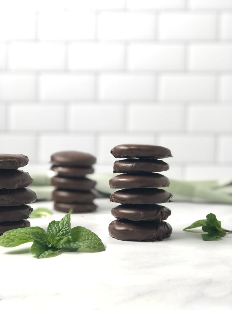 Stack of beautiful gluten-free Thin Mint cookies