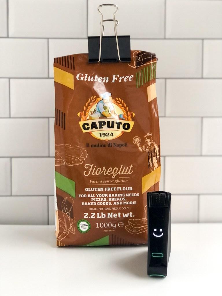 Picture of Caputo gluten-free flour and smiling Nima Sensor