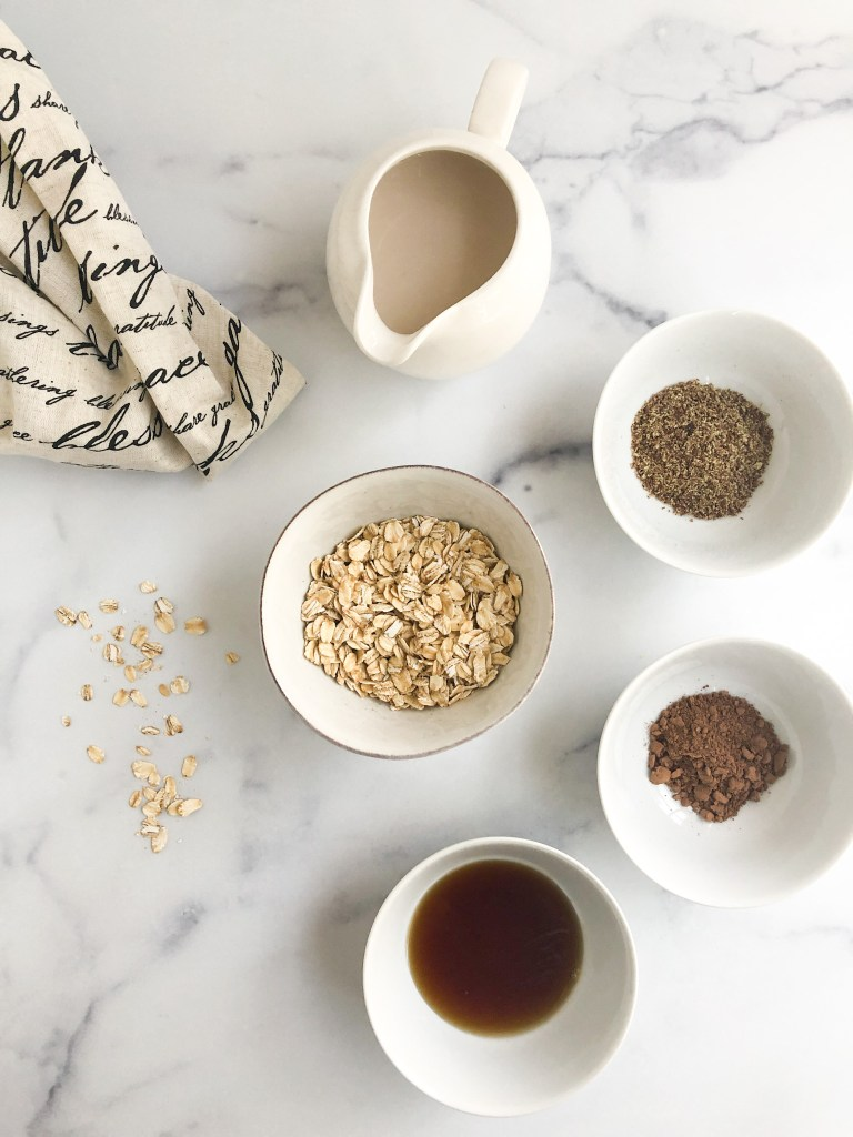 Ingredients to make chocolate oatmeal