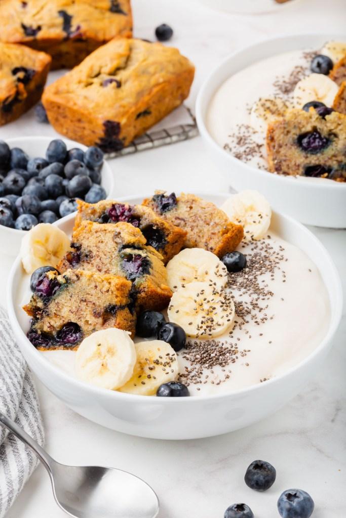 Gluten-free blueberry banana bread breakfast bowls