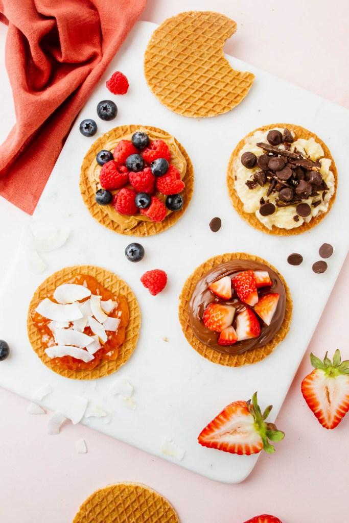 Overhead picture of all gluten-free stroopwafel varieties