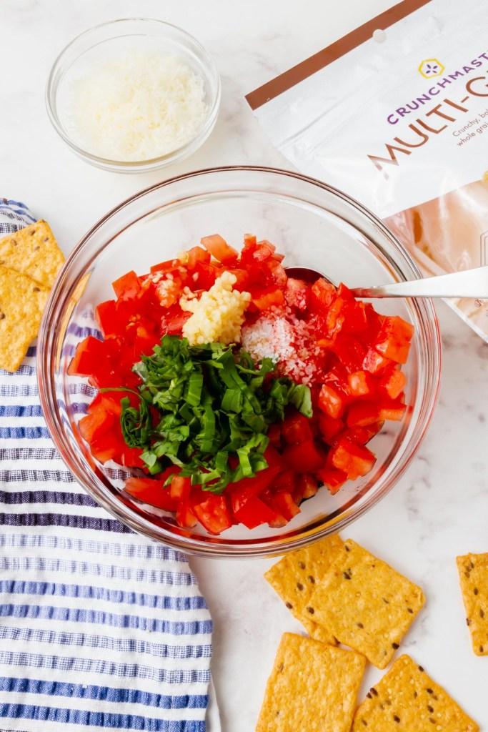 gluten-free bruschetta ingredients in a bowl