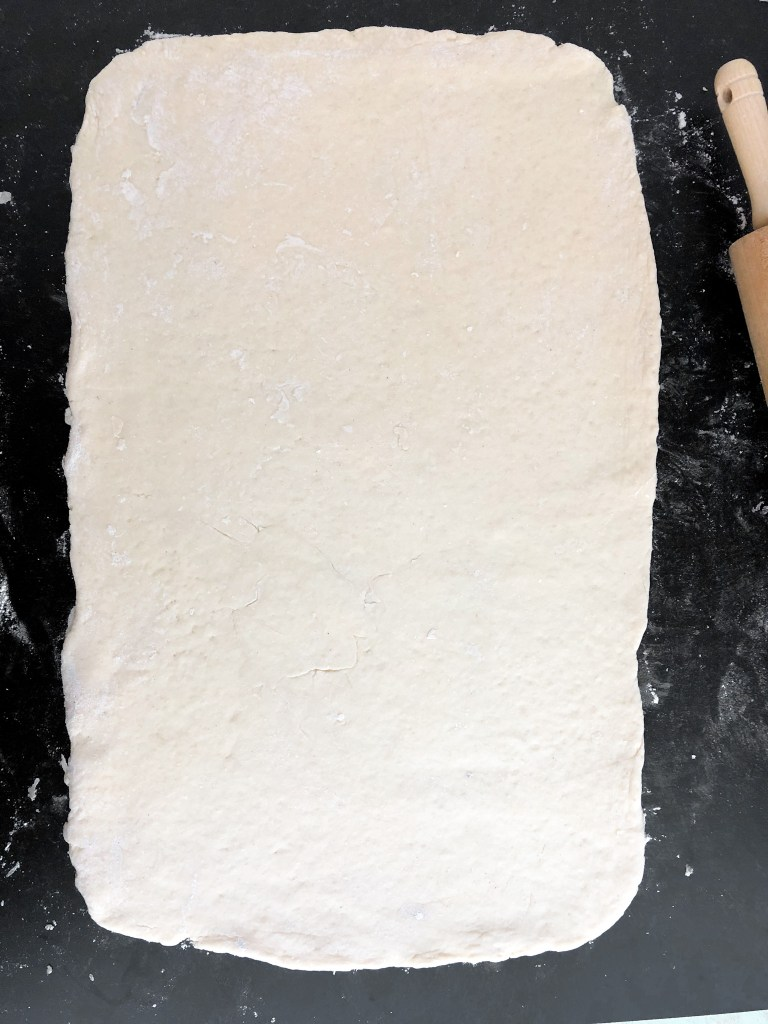 Dough rolled out into a rectangle