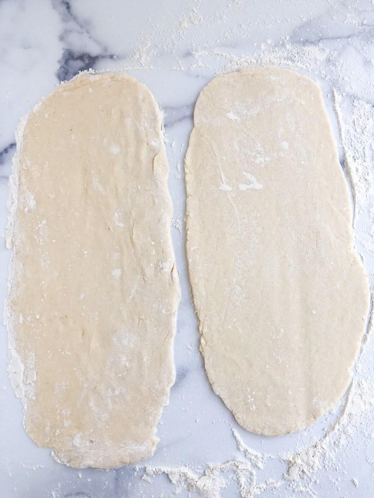 Babka dough rolled out