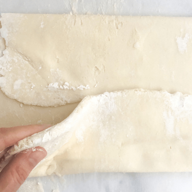 pastry dough folded over on to itself