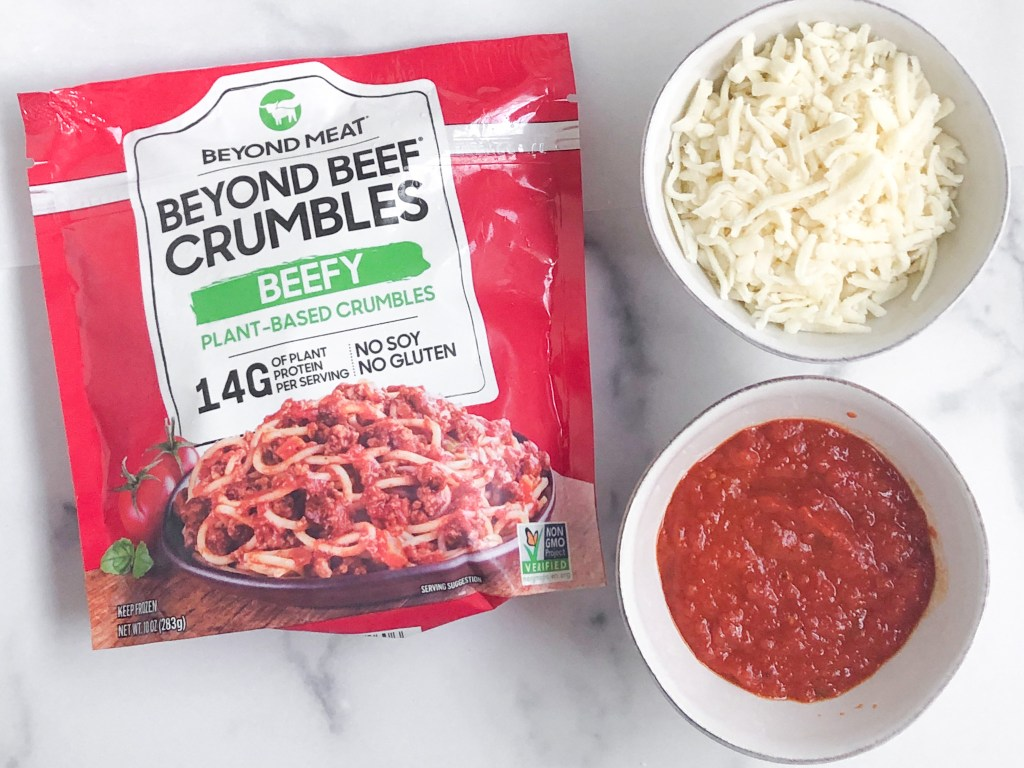 gluten-free hot pocket fillings - Beyond Beef crumbles, cheese and pizza sauce