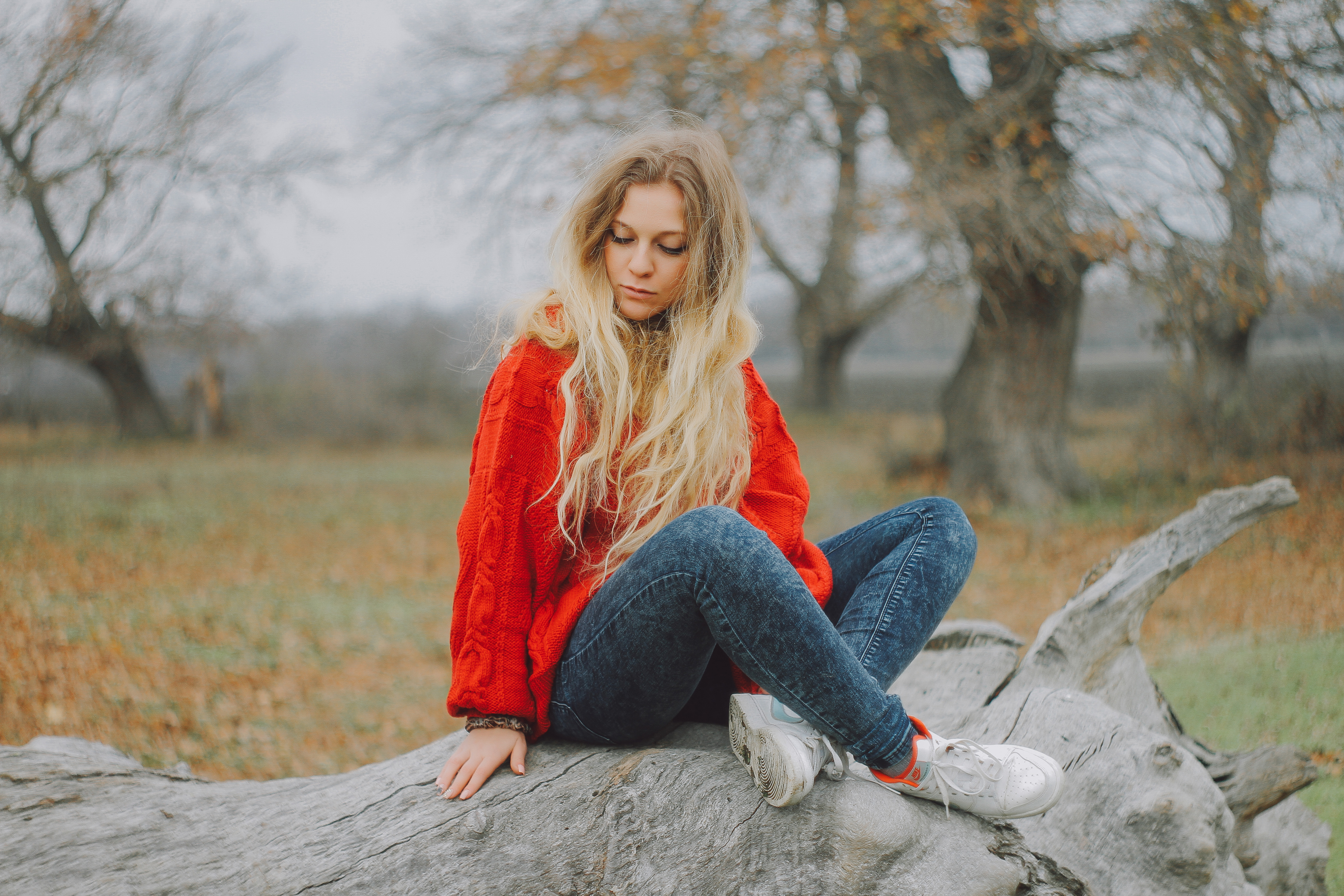 Woman In Red Sweater Sitting On Log Image Free Stock