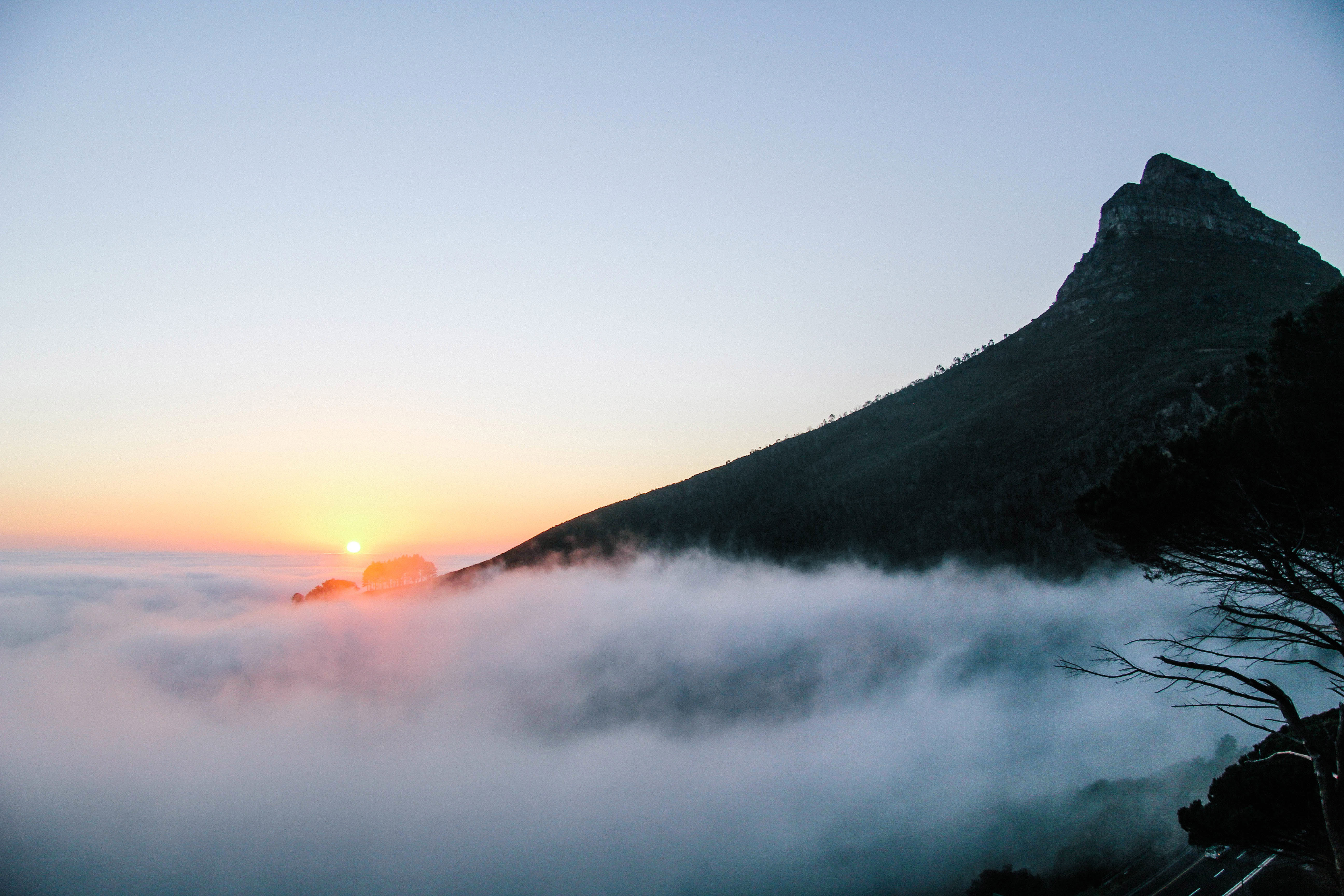 Sunrise Above The Clouds On The Mountain In Cape Town