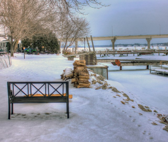 A Nice Bench Overlooking The Bay Frozen In The Winter At Sturgeon Bay Wisconsin