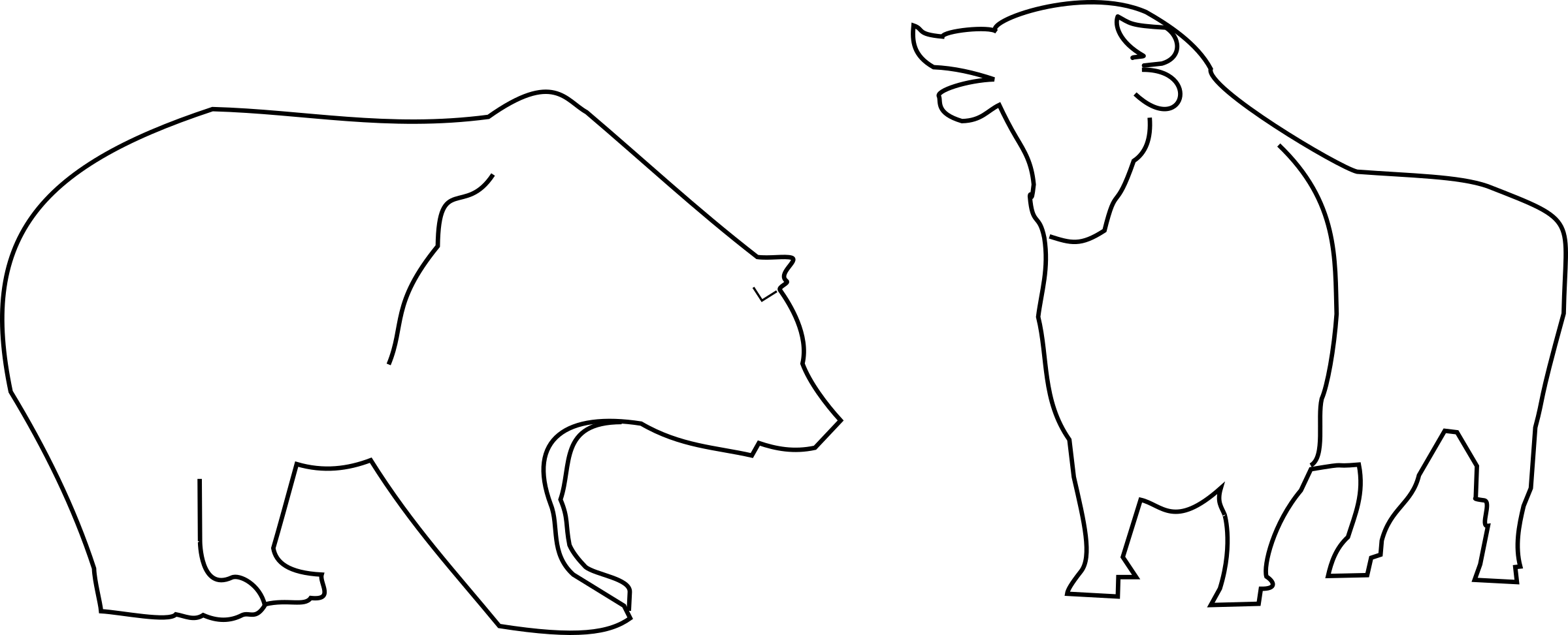 Bulls And Bear Vector Clipart Image