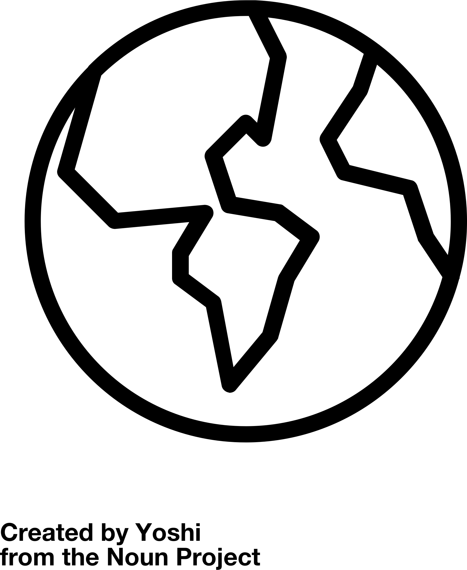 Earth Outline Vector Clipart Image