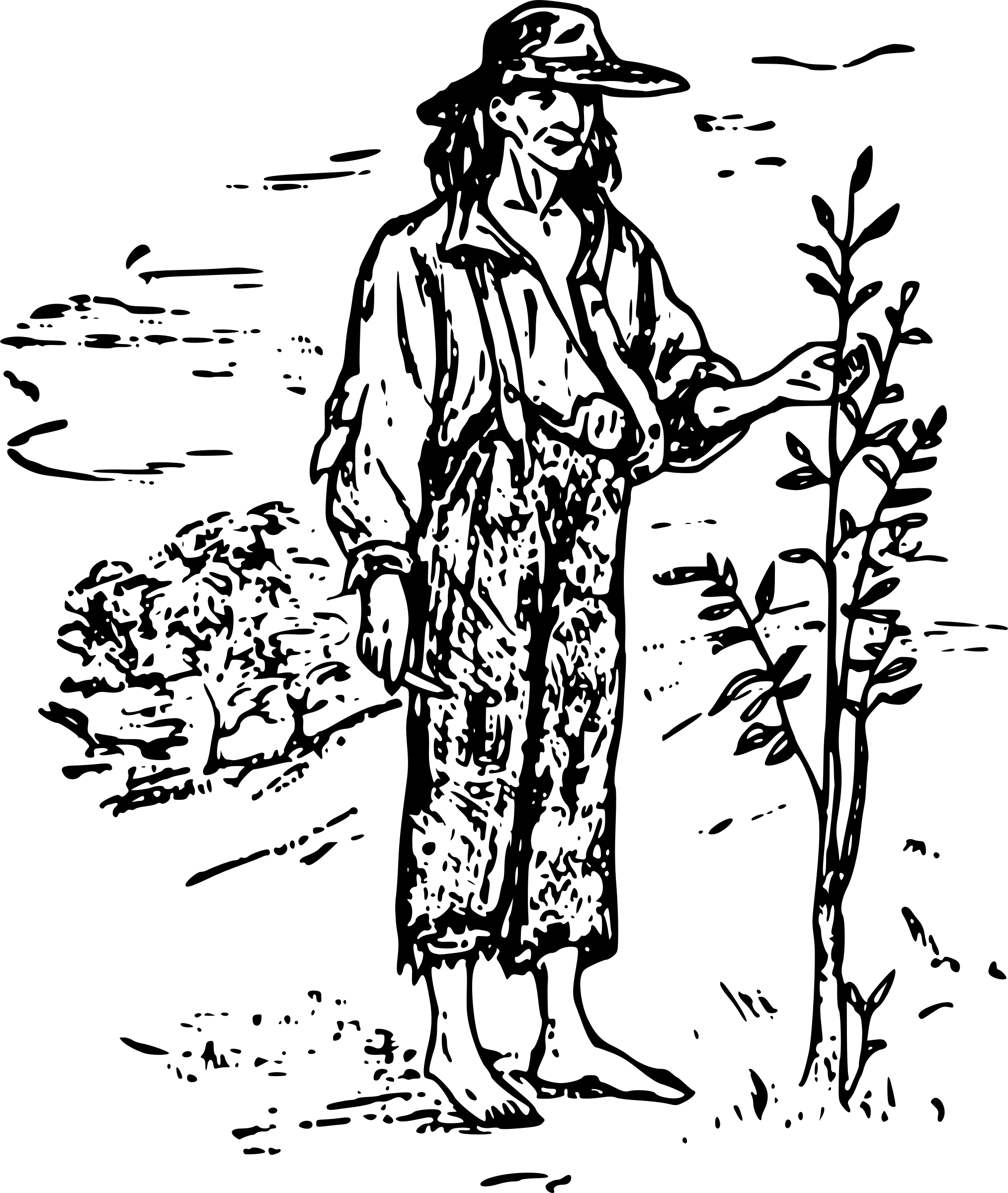 Johnny Appleseed Vector Clipart Image