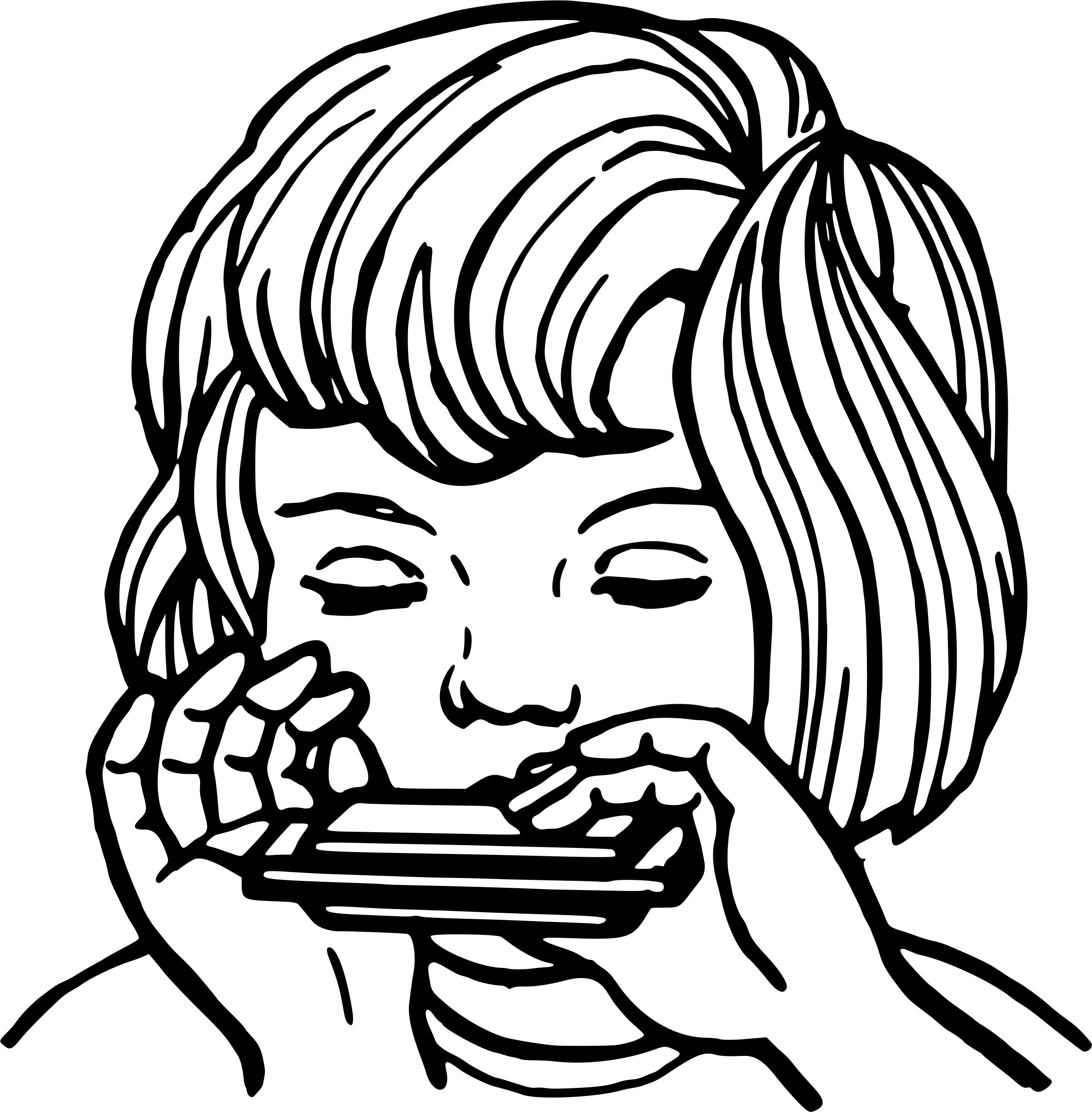 Girl Playing The Harmonica Vector Clipart Image
