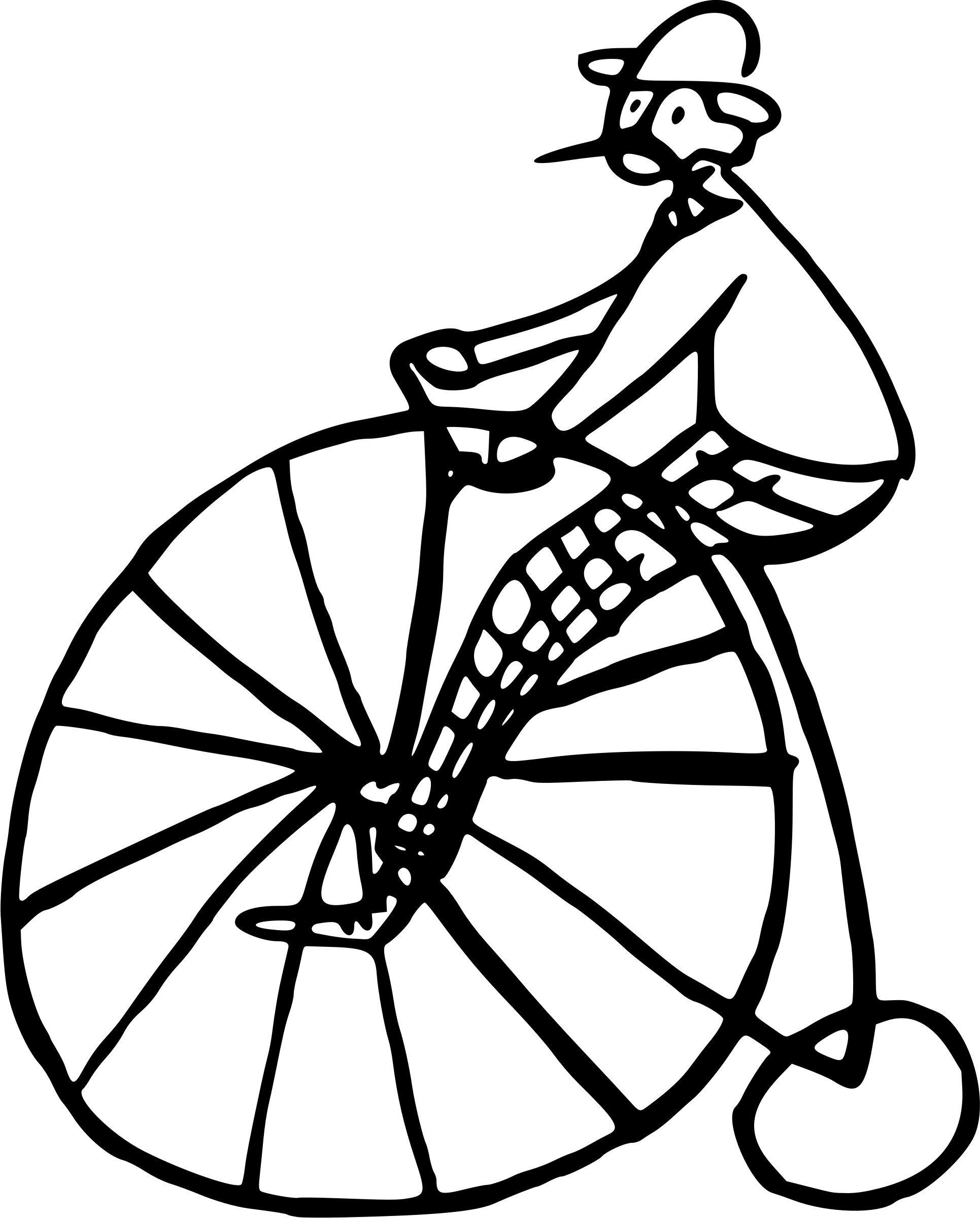 Man Riding On A Penny Farthing Cycle Vector Clipart Image