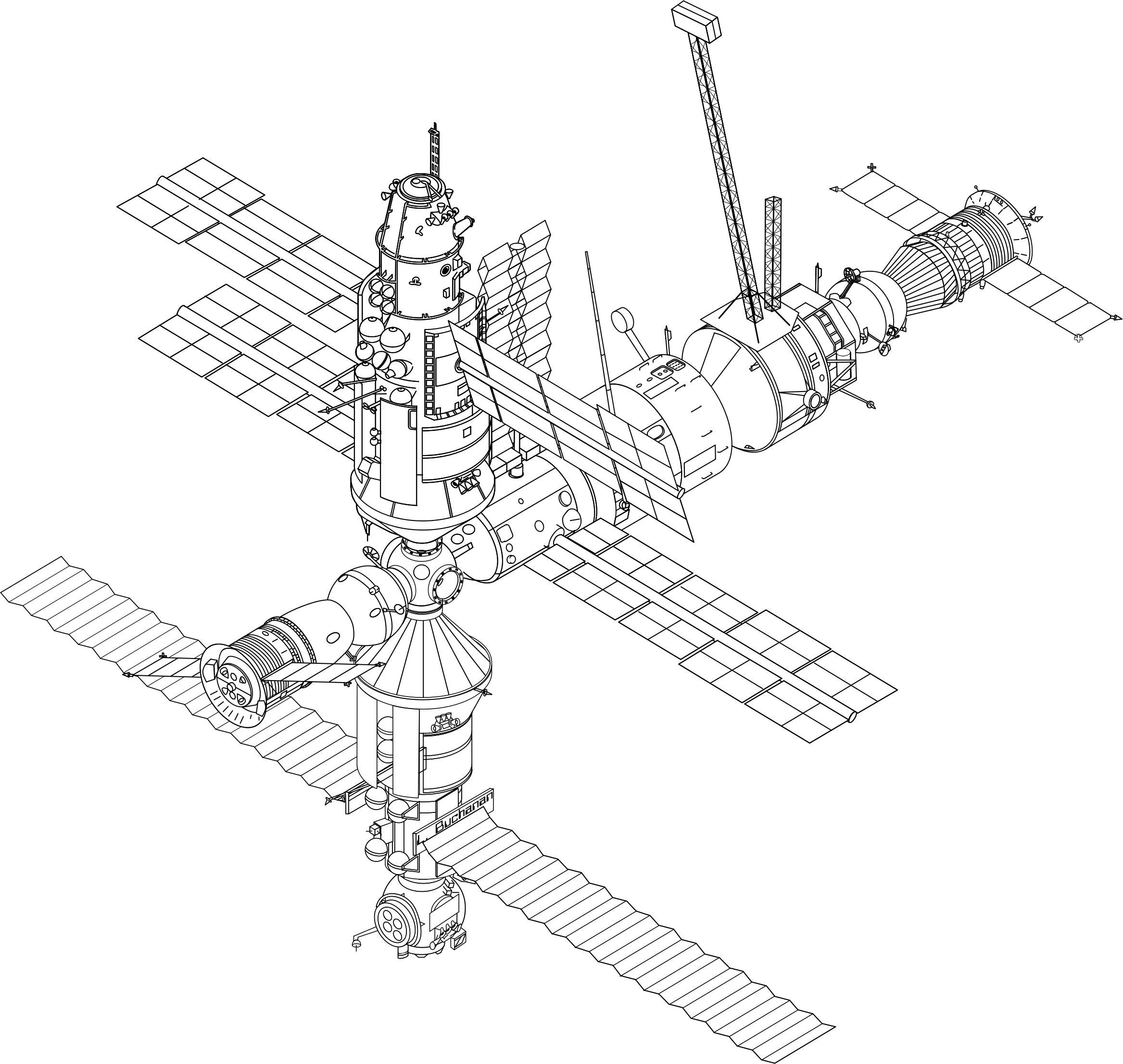 Mir Space Station Sketch Vector Clipart Image
