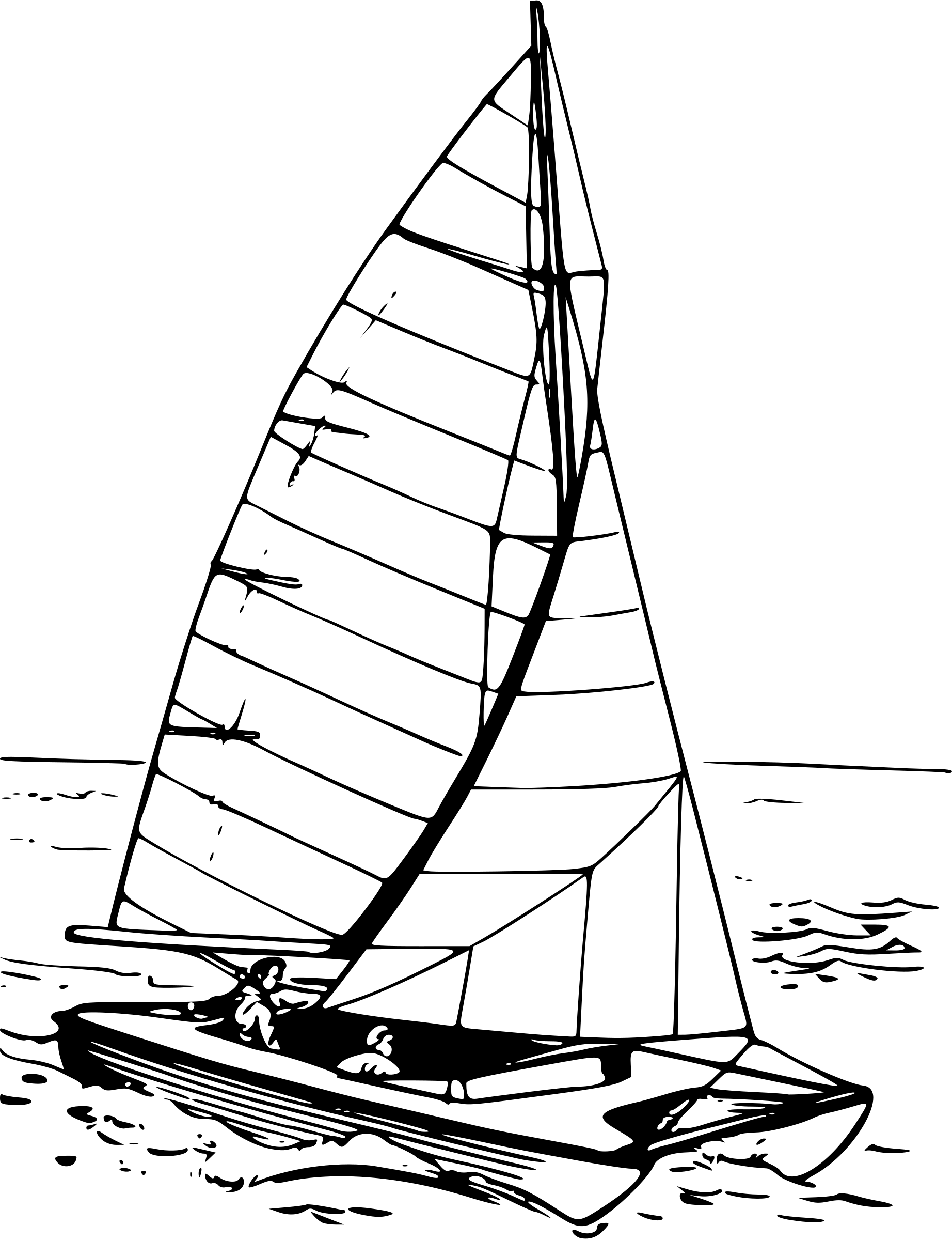 Sailboat On The Water Vector Clipart Image