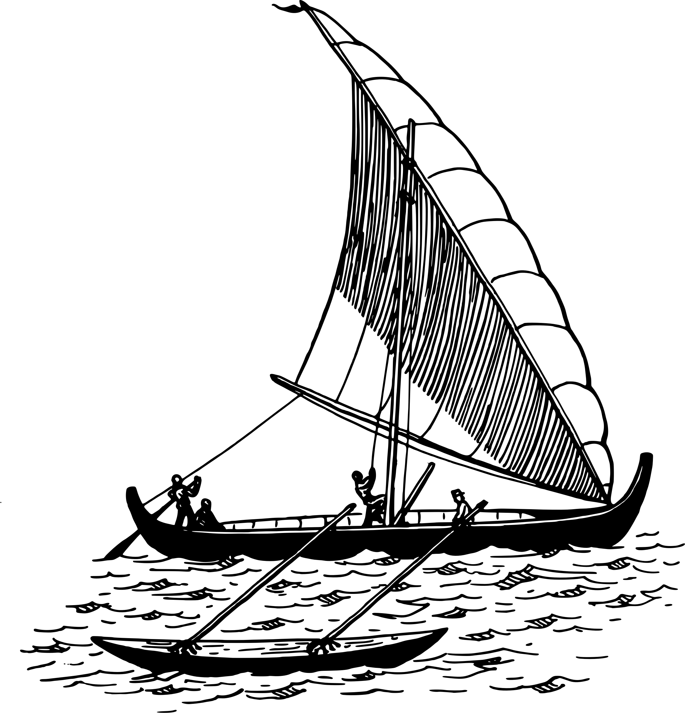 Sailboat With Outrigger Vector Clipart Image