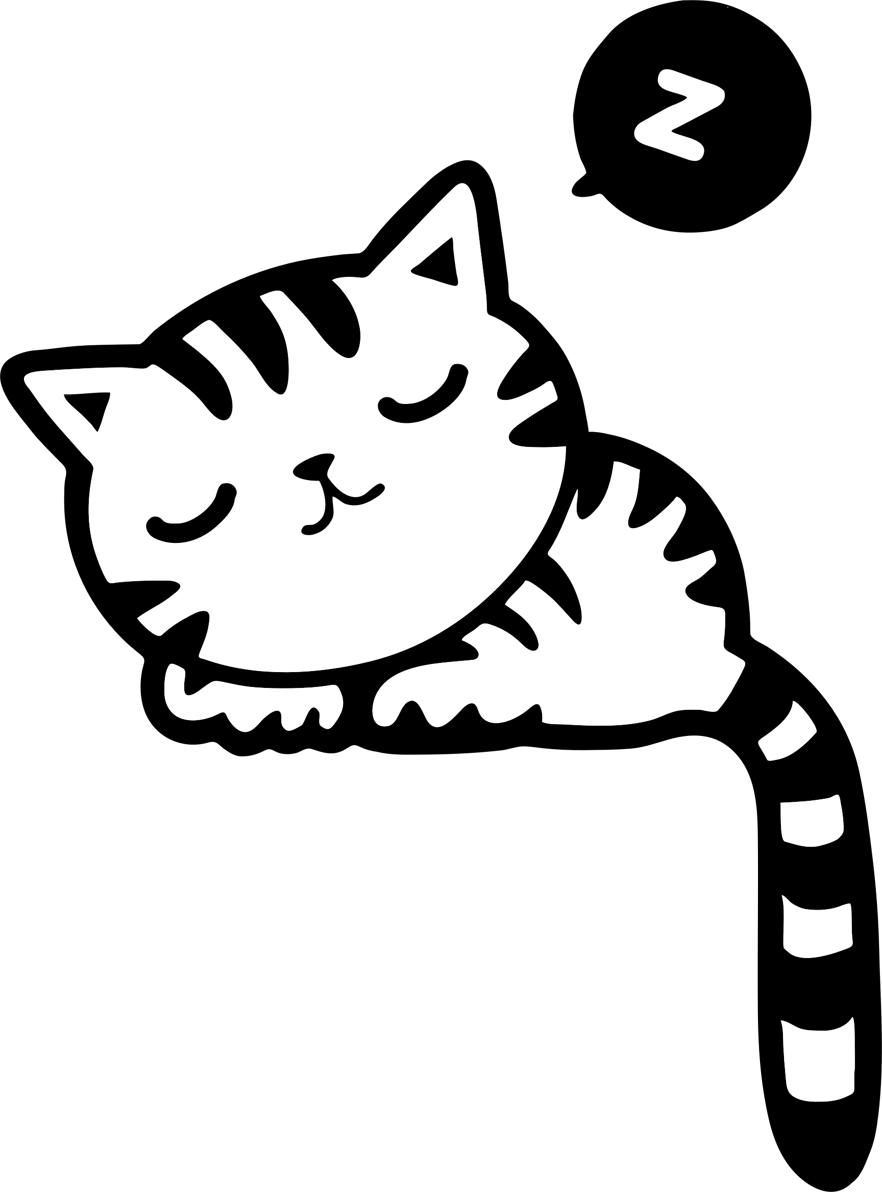 Sleeping Kitty Vector Clipart Image