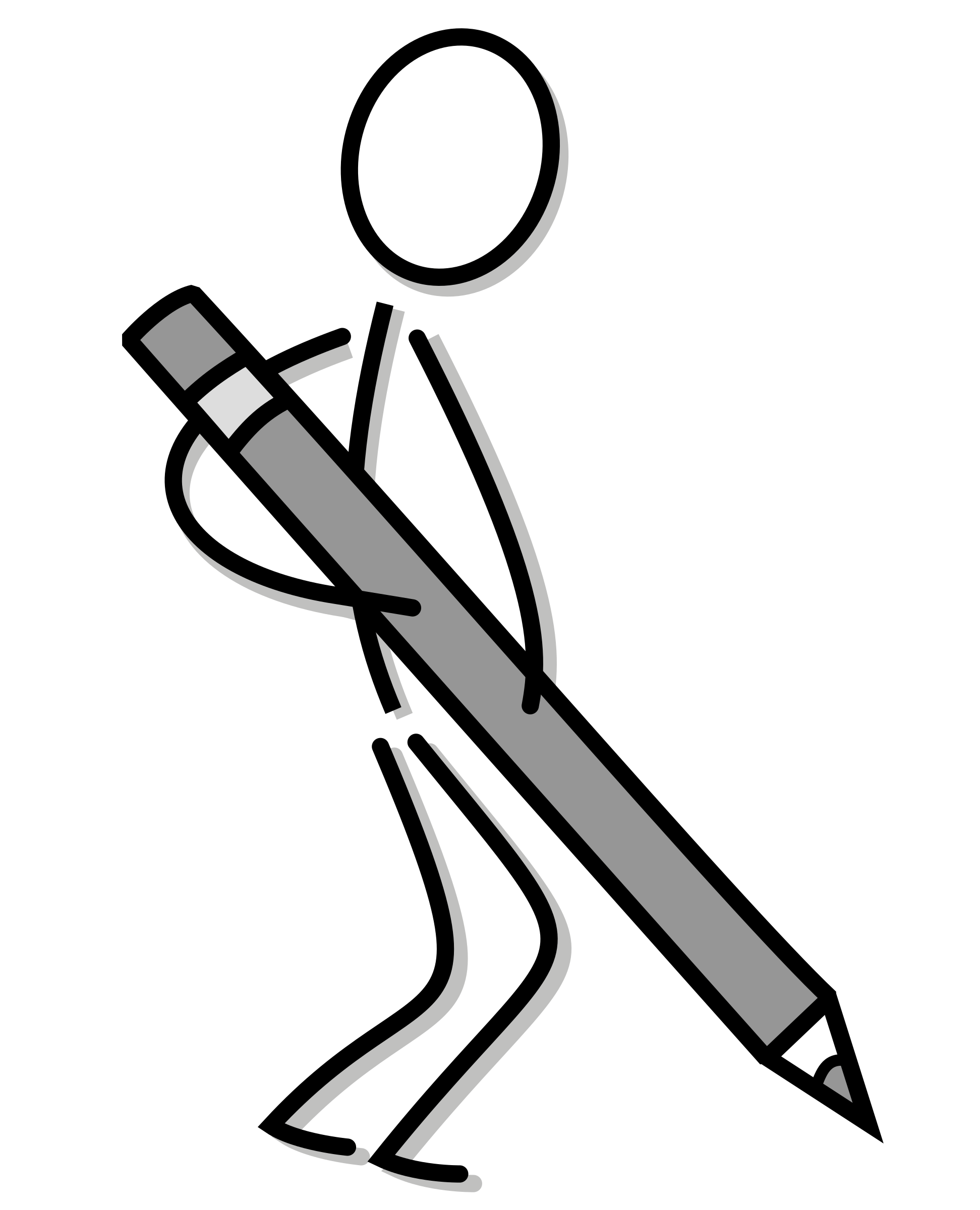 Stick Figure With Pencil Vector Clipart Image