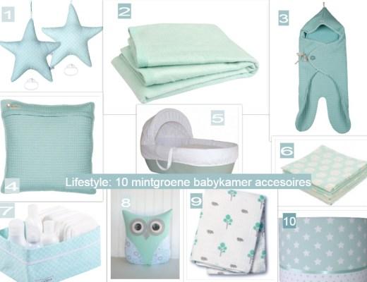 mintgroene accessoires voor de babykamer