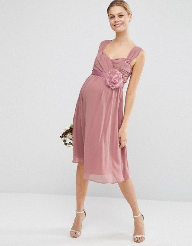 ASOS Maternity WEDDING Chiffon Bandeau Midi Dress-GoodGirlsCompany