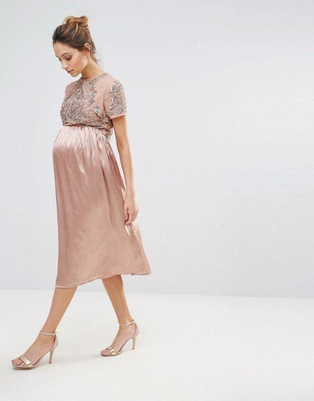 Maya Maternity Midi Dress With Satin Skirt And Embellished Bodice-GoodGirlsCompany