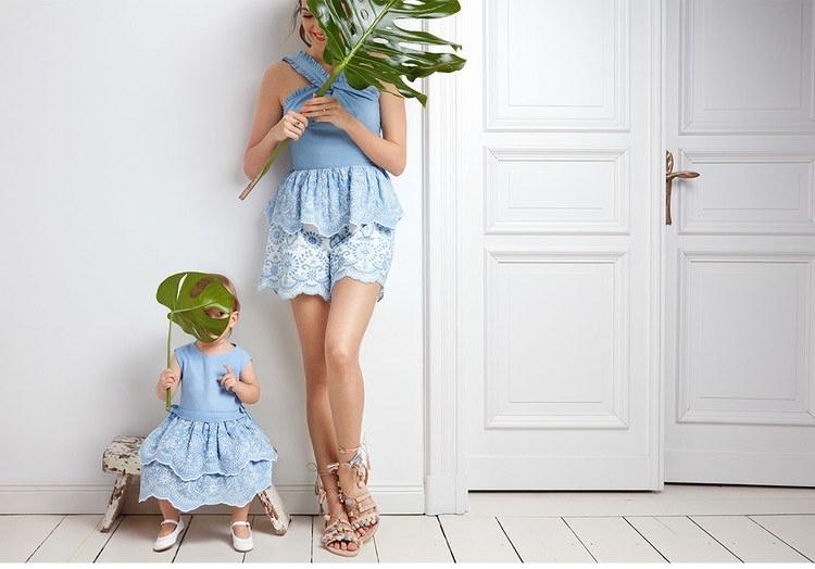 Dezelfde kleding voor moeder en dochter van Mint & Berry
