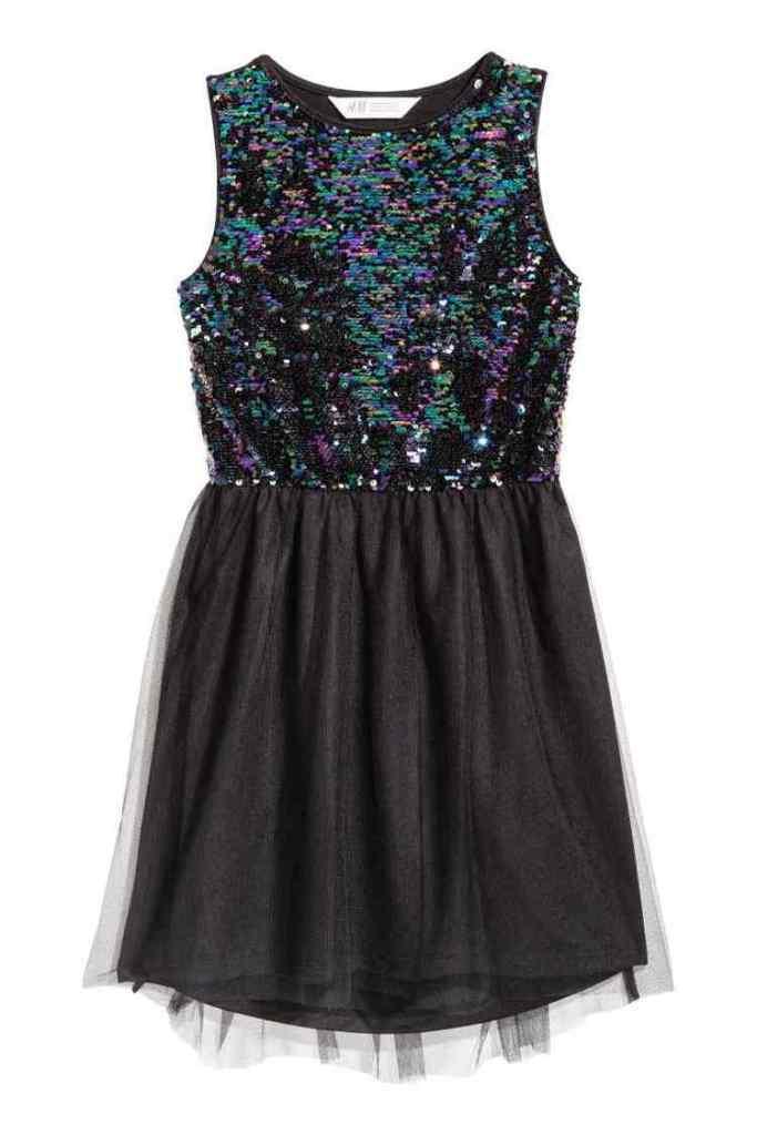 Zwarte jurk met pailletten-HM-GoodGirlsCompany