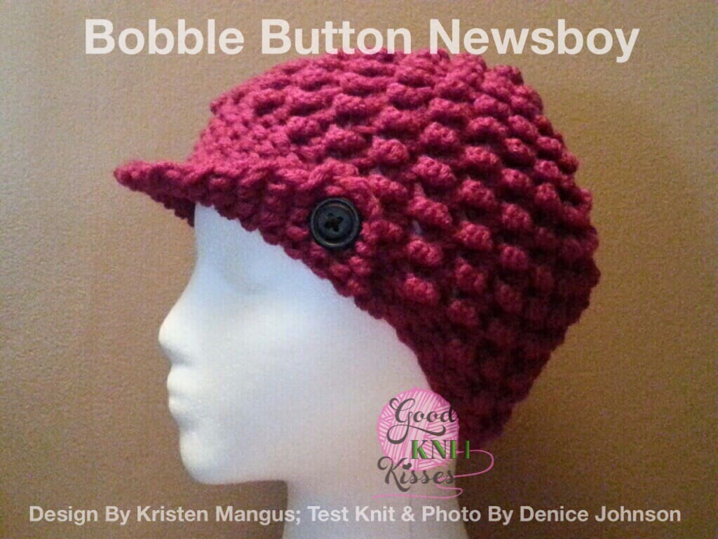 Bobble Button Newsboy | Loom Pattern - GoodKnit Kisses