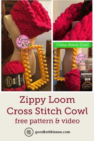 Drop Down Hitch >> Cross Stitch Cowl Zippy Loom Knit - GoodKnit Kisses
