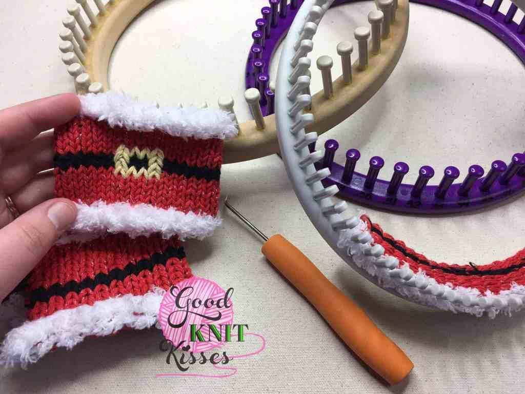 Loom Knit Santa mug hug