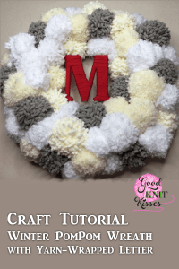 Make your own Winter PomPom Wreath and bring the snow inside. The fluffy pompom snowballs surround your yarn-wrapped initial. http://www.goodknitkisses.com/winter-pom-pom-wreath/ #goodknitkisses #pompom #pompomwreath #pompomcrafts #winterwreath