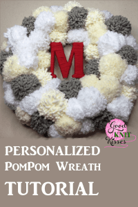 Make your own Winter PomPom Wreath and bring the snow inside. The fluffy pompom snowballs surround your yarn-wrapped initial. http://www.goodknitkisses.com/winter-pom-pom-wreath/ #goodknitkisses #pompom #pompomwreath #winterwreath