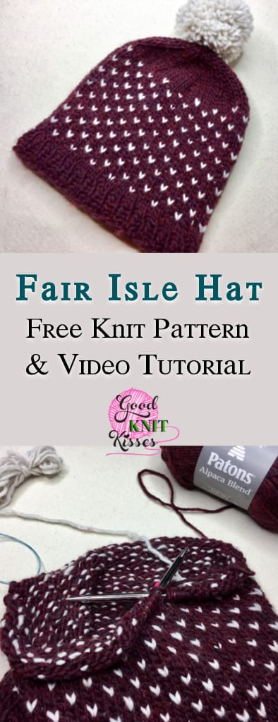 Learn to knit 2-color Fair Isle with this cozy alpaca blend hat. http://www.goodknitkisses.com/fair-isle-knit-hat/ #goodknitkisses #fairisleknit #knittingpattern #freepattern #knithat