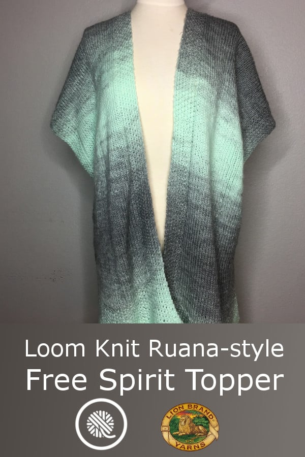 Loom Knit Ruana-style Free Spirit Topper made with Lion Brand Scarfie yarn. http://goodknitkisses.com/loom-knit-free-spirit-topper/ #goodknitkisses #loomknit #loomknitting #scarfie #ruana