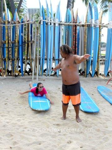 Surfing lesson in Waikiki