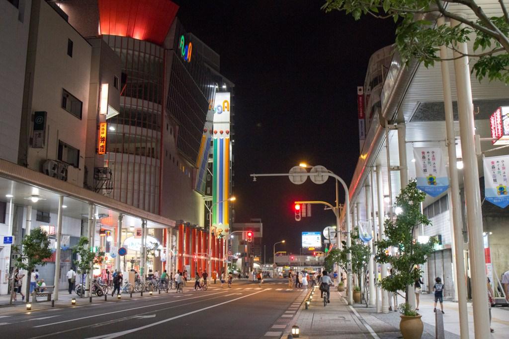 Main Street in Aomori at Night Japan