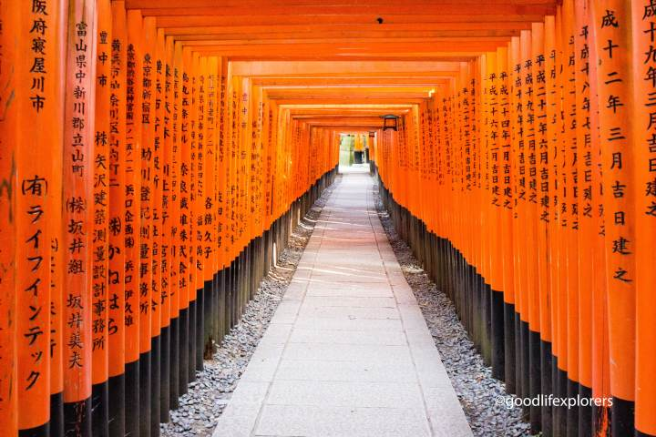Tori gates at Fushimi- Inari Temple, a perfect place for a day trip from Kyoto Japan