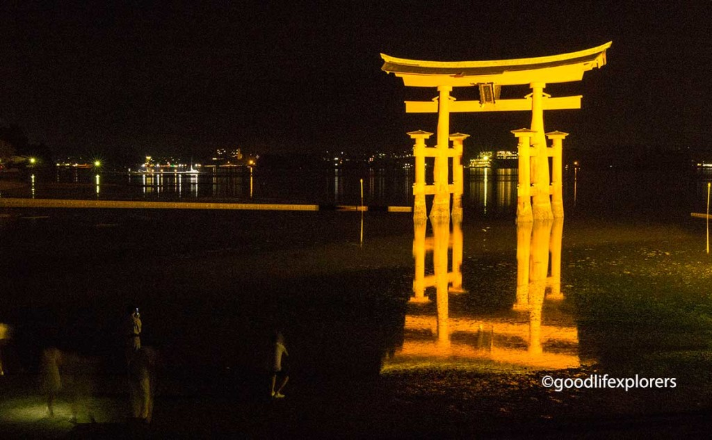 Itsukushima Shrine Torii at night in Miyajima Japan