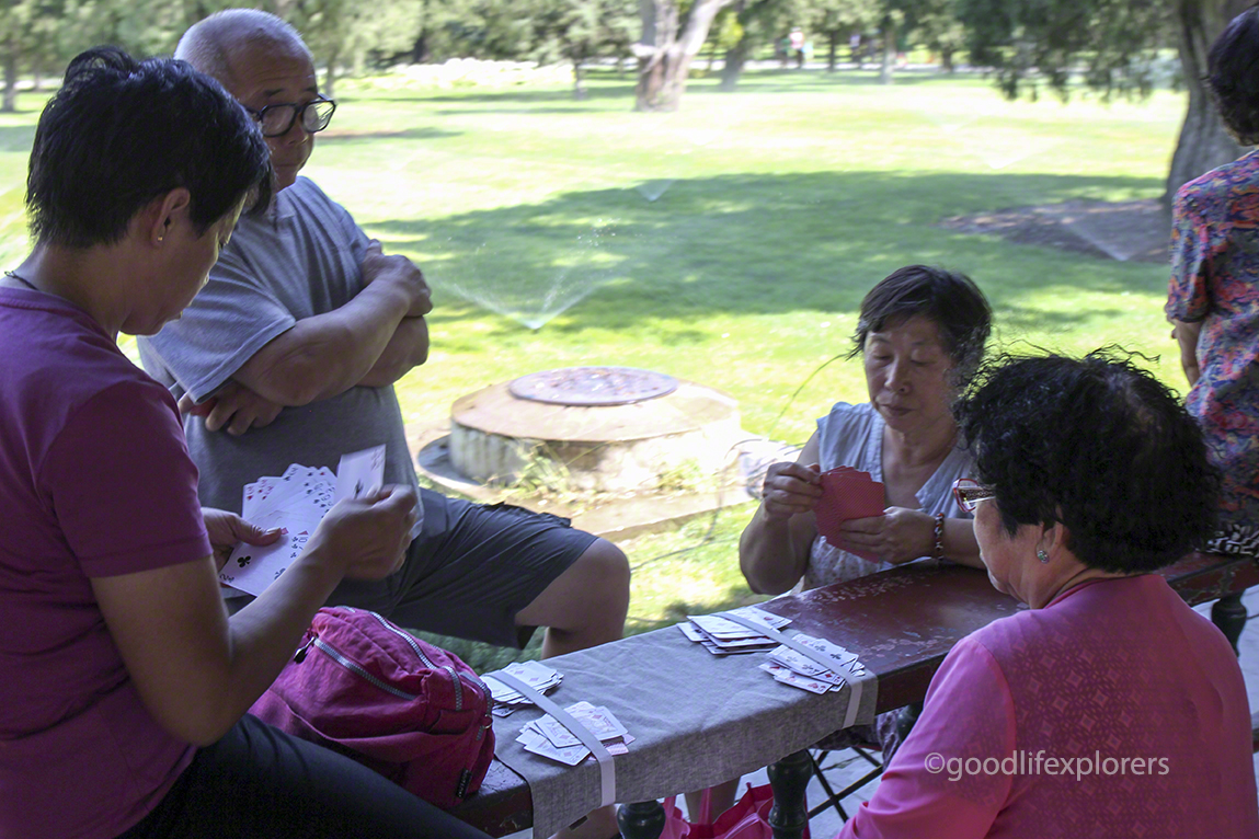 People playing card games in Temple of Heaven park