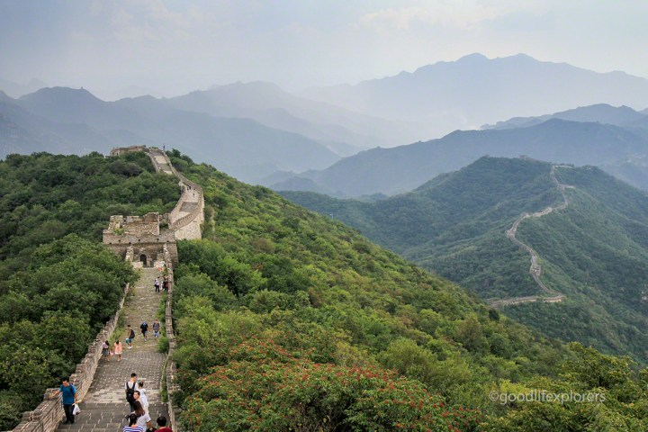 Great Wall of China and mountains
