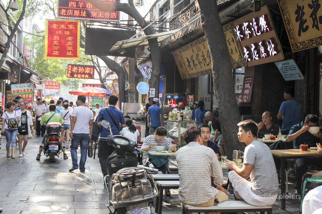 People eating at the Muslim Quarter in Xi'an China