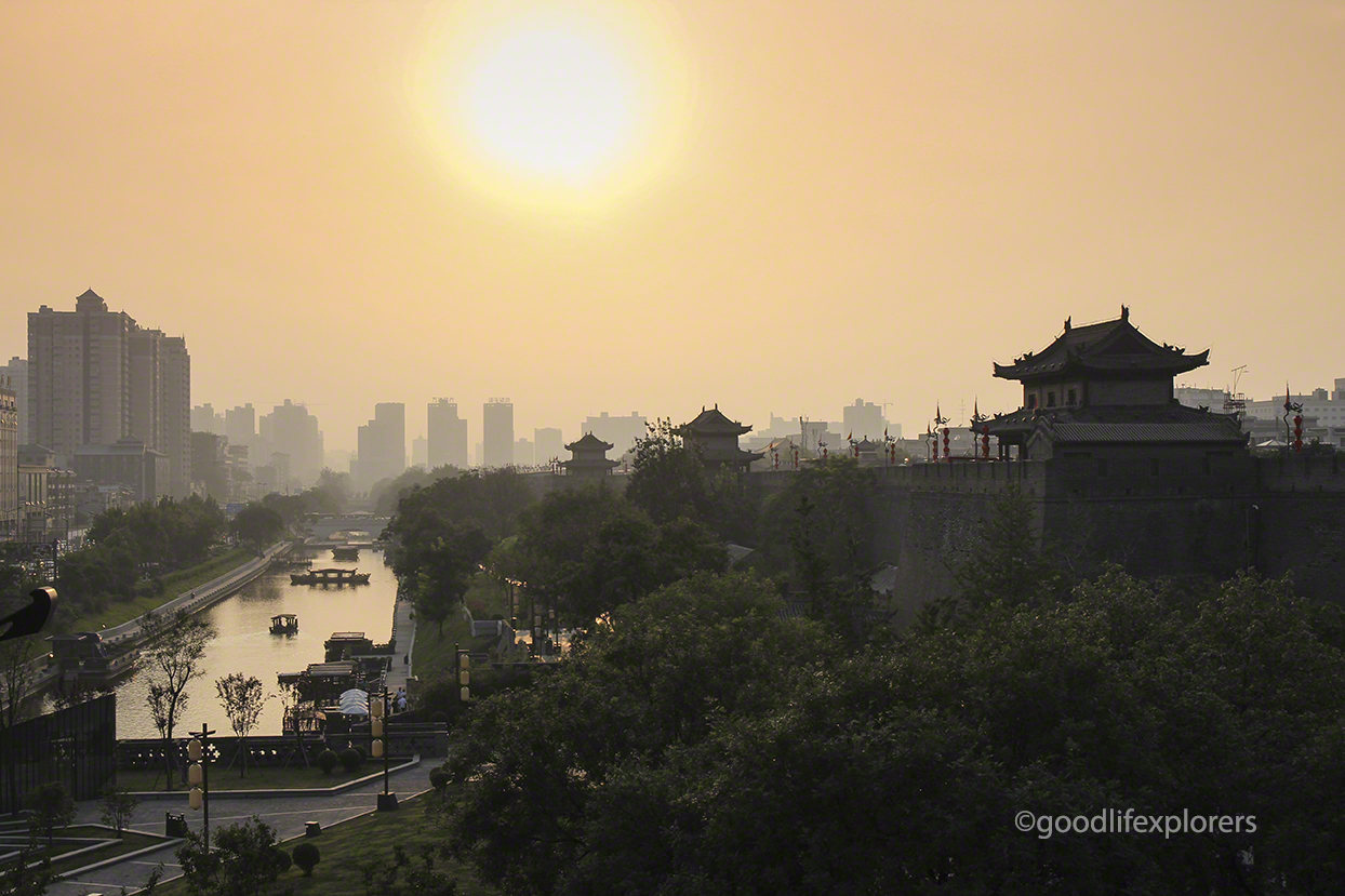 Xian China at Sunset from the top of the Ancient City Wall