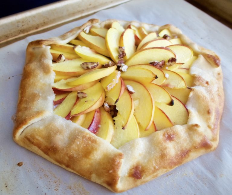Ginger Peach Pecan Galette, recipe, food