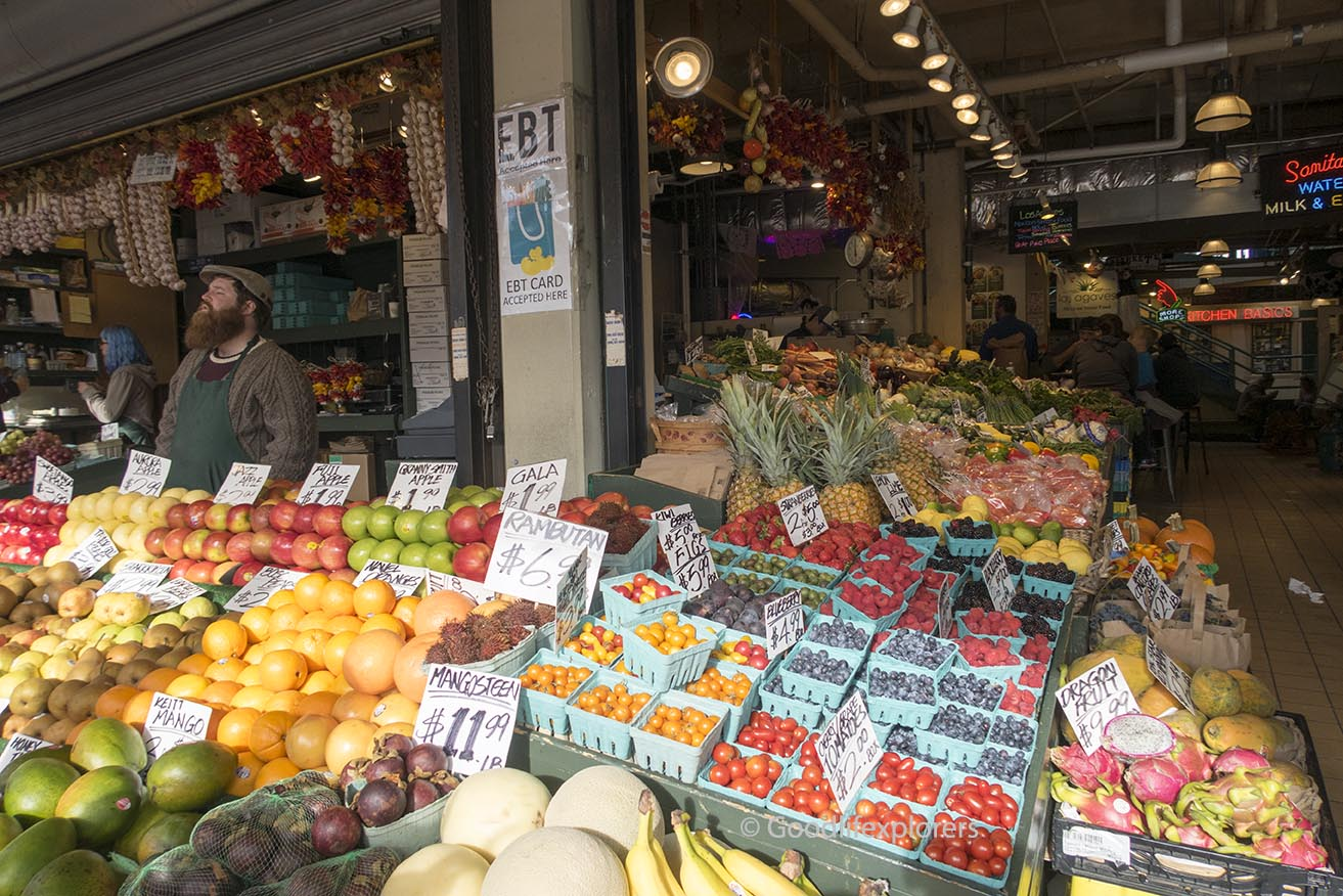 Seattle pike place market fruit stall